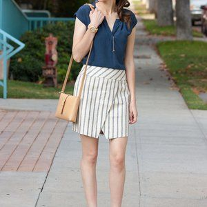J. Crew | Linen Striped Crossover Wrap Skirt Blue